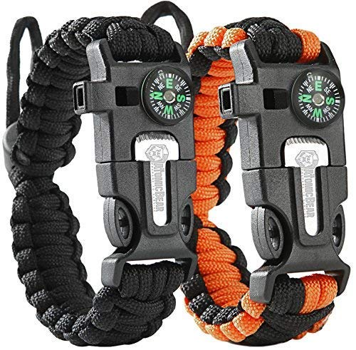 Atomic Bear Paracord Bracelet (2 Pack) - Adjustable Size - Fire Starter - Loud Whistle - Emergency Knife - Perfect for Hiking, Camping, Fishing and Hunting - Black & Black+Orange