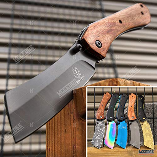 KCCEDGE BEST CUTLERY SOURCE EDC Pocket Knife Camping Accessories Razor Sharp Edge Cleaver Blade Folding Knife for Camping Gear Survival Kit 58649 (Wood Brown)