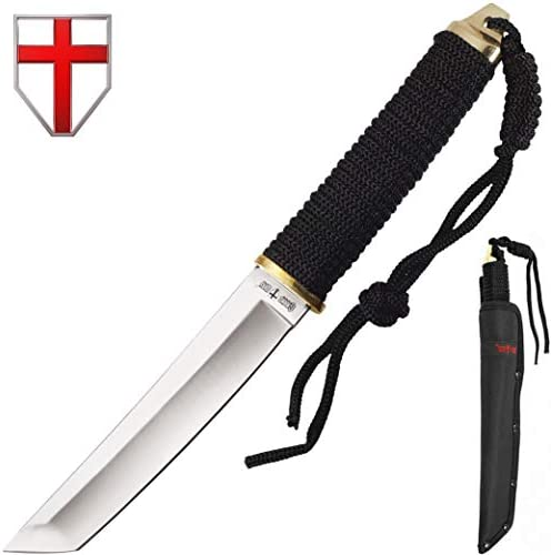 Grand Way Japanese Fixed Paracord Tanto Knife - Fixed Polished Blade Paracord Handle 2307