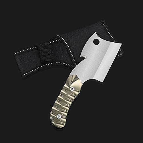 "LIANTRAL Survival Camping Cleaver Knife with Sheath Fixed-Blade Hunting Knife, 7.4"" x 2.3"""