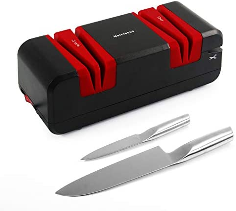Narcissus Knife Sharpener, 60W Electric Knife Sharpener Multifunctional for Home, with 15-Degree Bevel Crude and Fine Knife Wide Grooves, Scissors and Slotted Screwdriver Slot, Corundum Abrasive Wheel