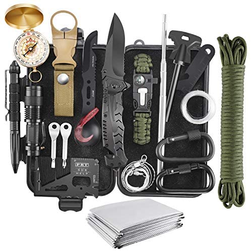 Verifygear Emergency Survival Kit, 22 in 1 Professional Survival Gear Equipment Tools First Aid Supplies for SOS Emergency Tactical Hiking Hunting Disaster Camping Adventures